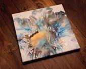 Abstract Sea Blue Burst Fluid Acrylic Pour Painting
