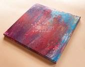 "Fuchsia & Sky Blue Swipe - Fluid Acrylic Painting - 10"" x 10"" x 5/8"""