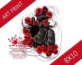 8x10 Quilled Paper Art Print | Dark Heart Original Quilled Artwork