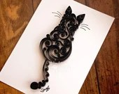 Black Scrollwork Cat   Ready-to-Ship