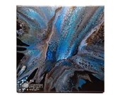 Abstract Blue Black Gold Swipe Blossom Fluid Acrylic Pour Painting