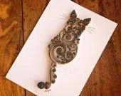 Medium Brown & Gray Torti Scrollwork Cat | Ready-to-Ship