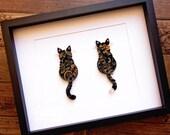 "Double Cats (Original)   Custom ""Original"" Scrollwork  Quilled Paper Cats"