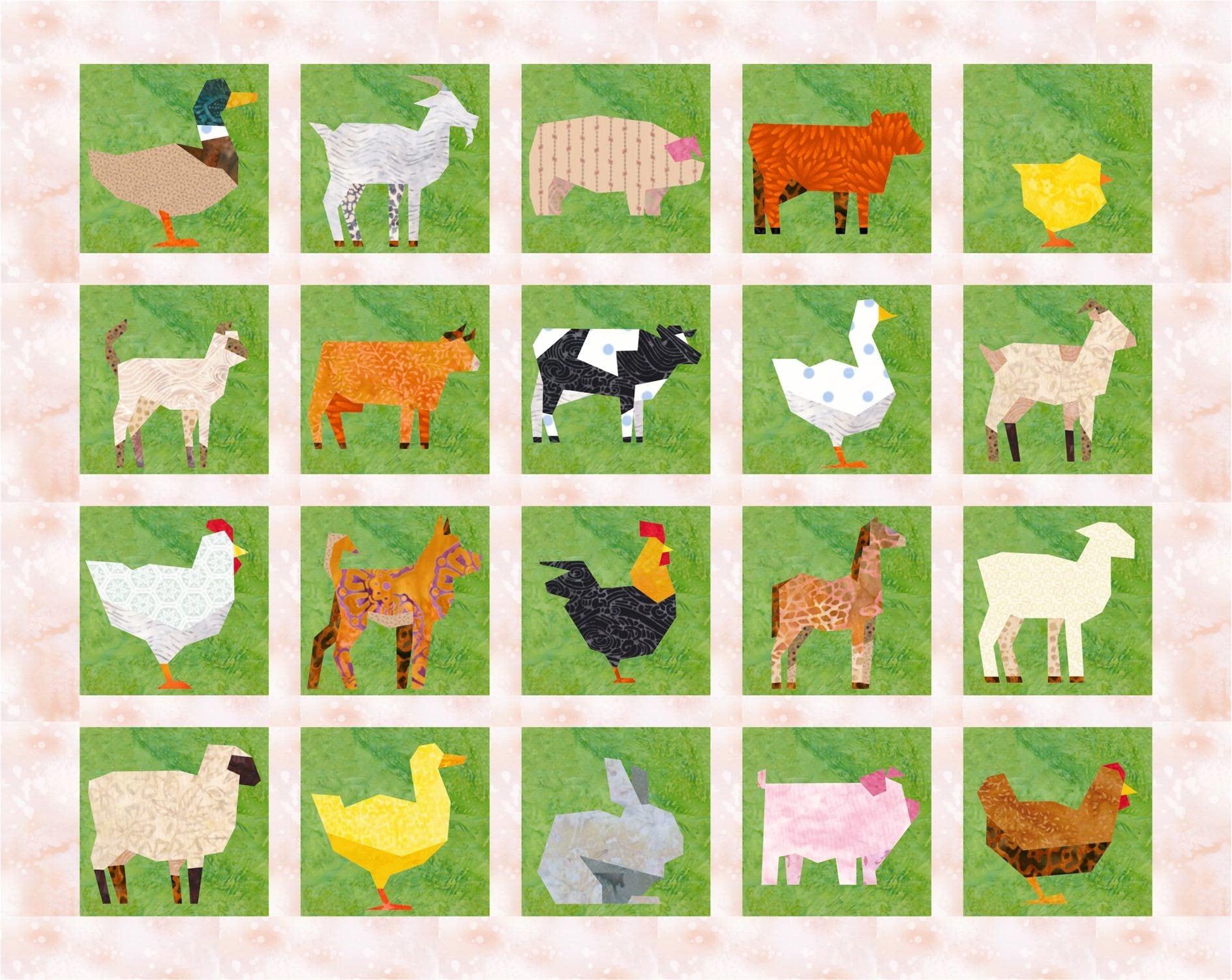 20 Farm Animals Quilt Block Patterns Cows Sheep Chickens
