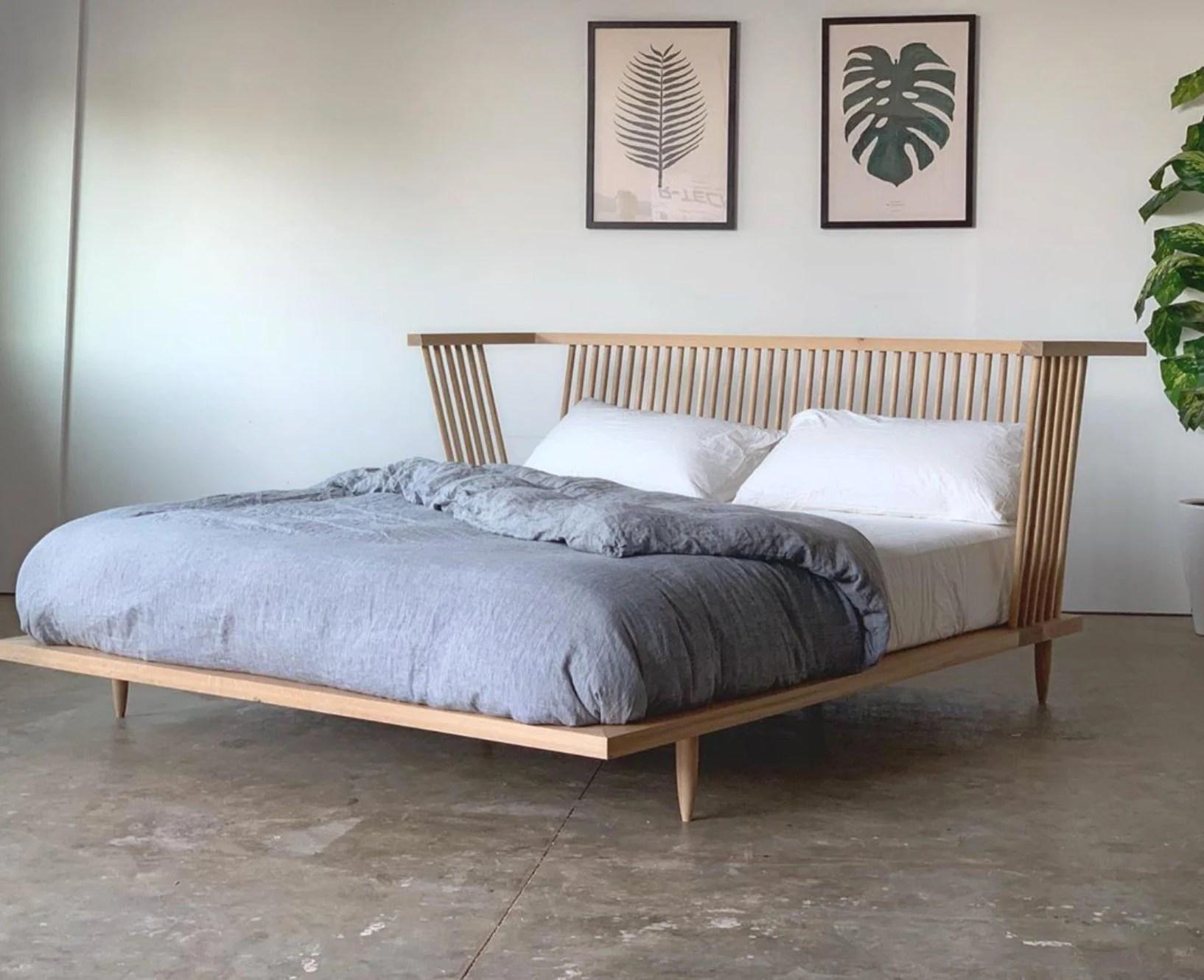 solid wood platform bed walnut bed mid