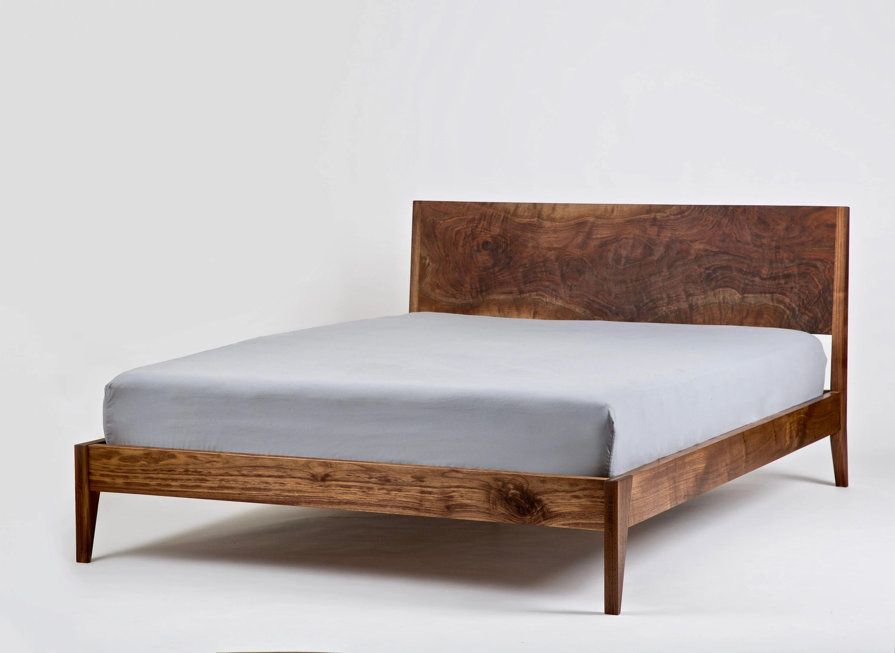 solid wood platform bed walnut bed mid century modern bedframe and headboard storage bed custom made furniture king queen full