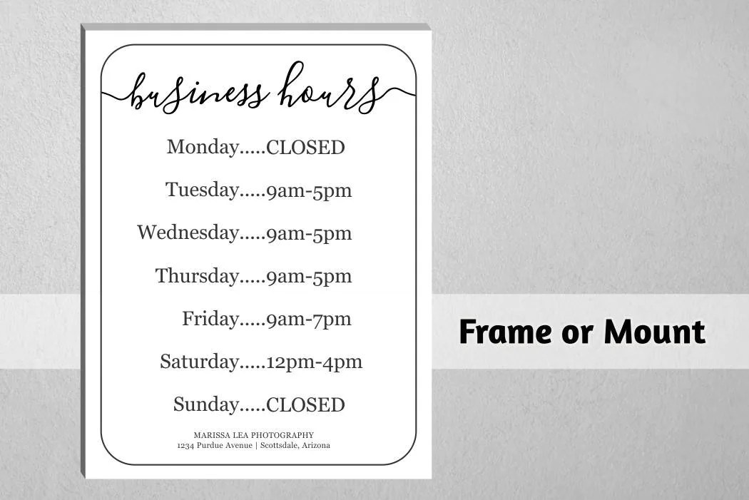 Business Hours Sign, Printable Template, Hours of