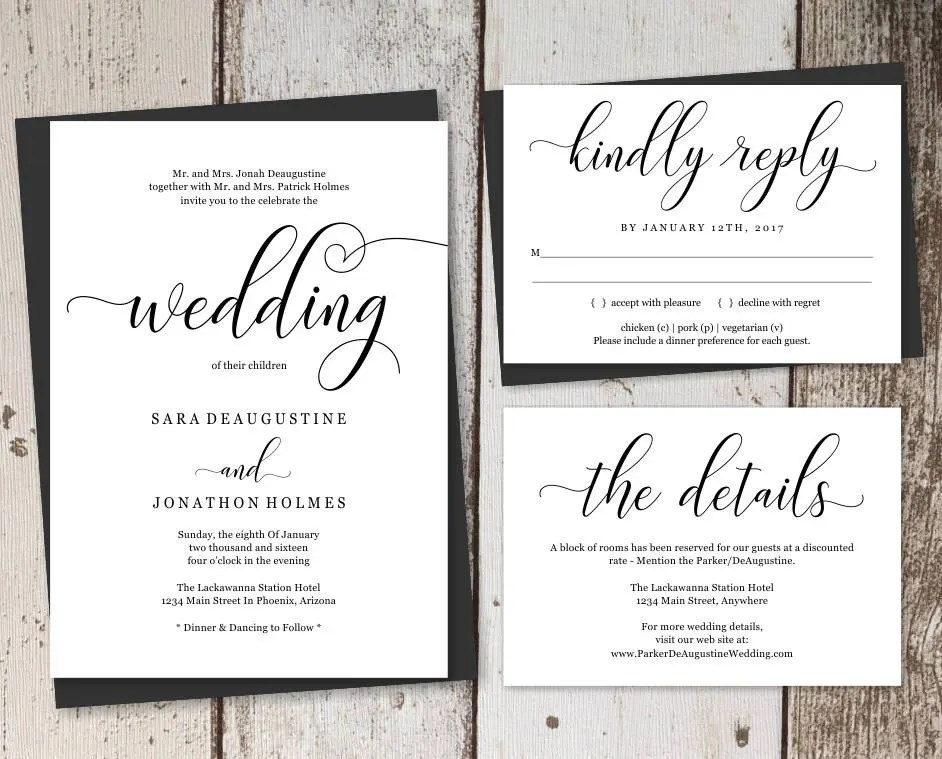 These templates are provided at no cost, but we do not guarantee they will work for your specific invitation needs. Traditional Wedding Invitation Template Printable Set Formal Etsy