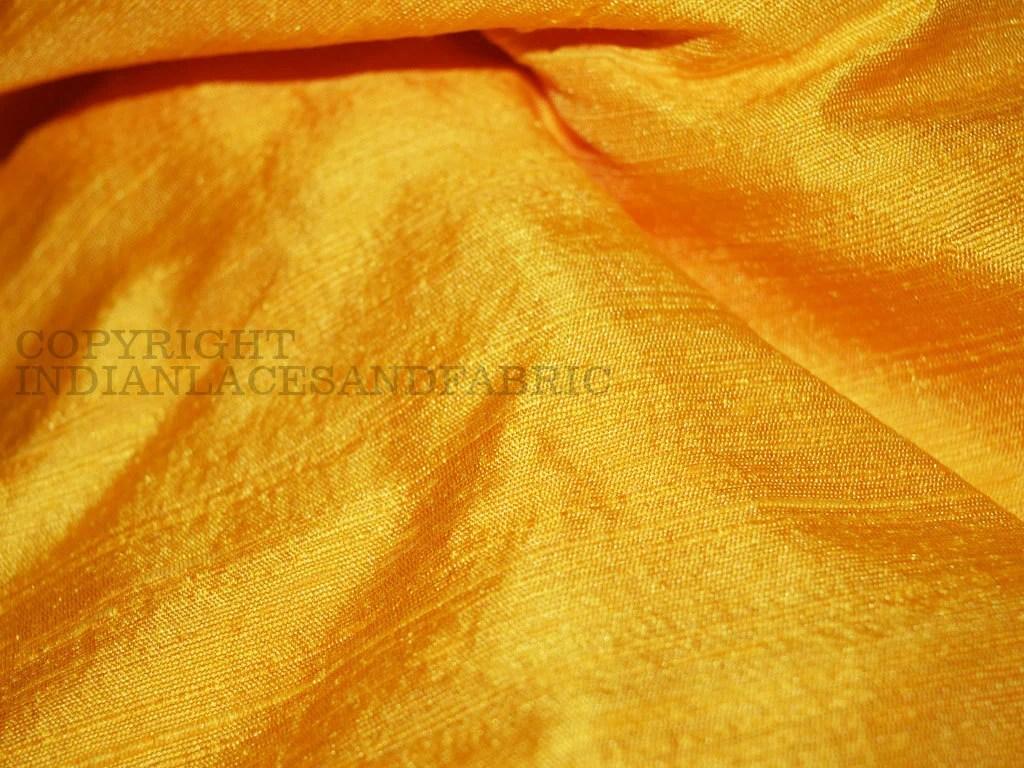 Pure Dupioni Silk fabric in Yellow raw silk fabric Indian