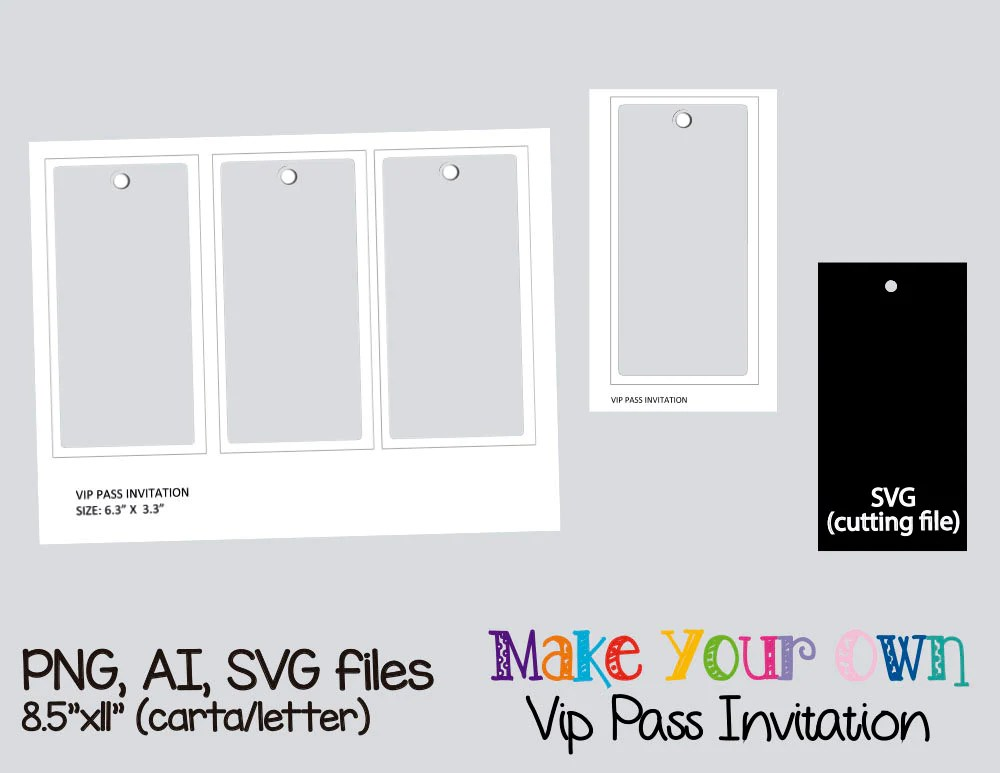 Vip pass invitation template collage sheet template