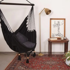 Swing Chair With Stand Kuwait Body Built Chairs Review Hanging Etsy Hammock Boho Chic Super Comfy Swinging In Black Macrame