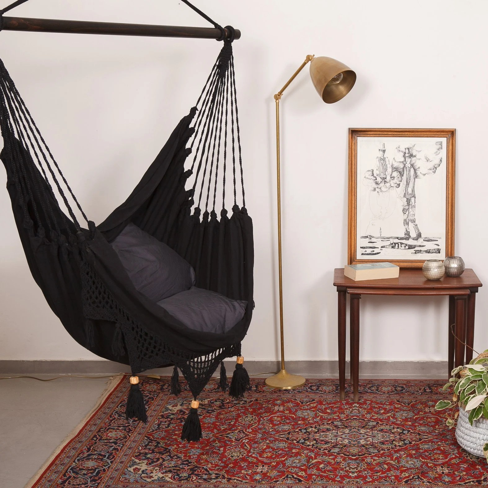 swing chair for bedroom high seat elderly hanging etsy hammock boho chic super comfy swinging in black with macrame
