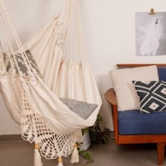 White Bohemian Hanging Chair Kitchen Covers Etsy Hammock Boho Chic Super Comfy Swinging With Macrame Swing