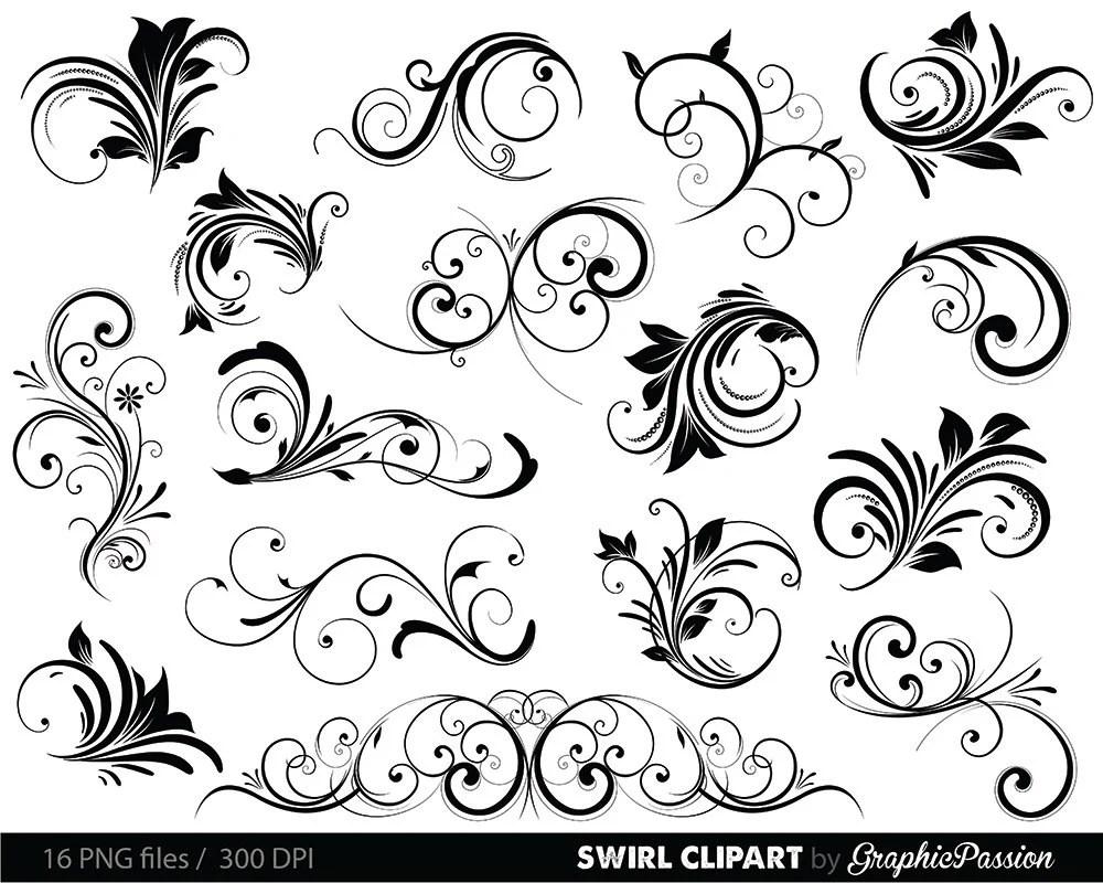 Swirls Clipart Digital Swirls Clip Art Vector Swirls