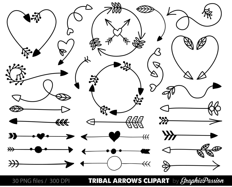 Arrows Clip Art Tribal Arrow Clip Art Archery Hand Drawn
