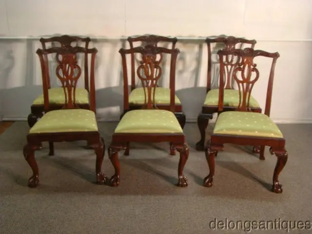 chippendale dining chair morris cushions sale chairs etsy baker set of 6 solid mahogany style