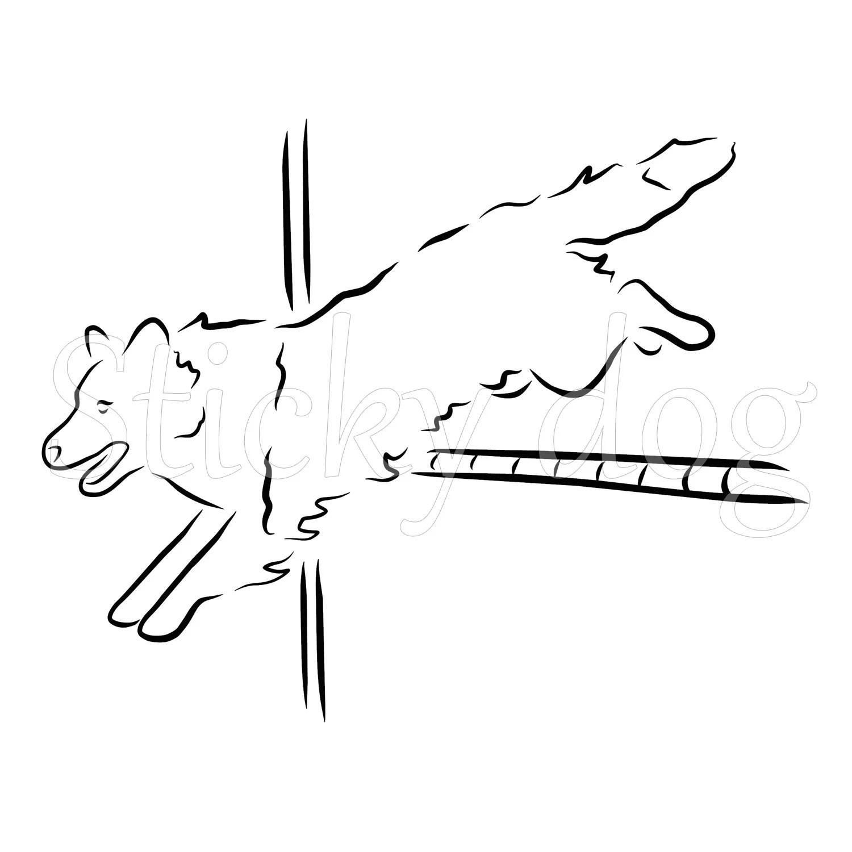 Border Collie Agility Jump Hurdle Silhouette Dog Sticker