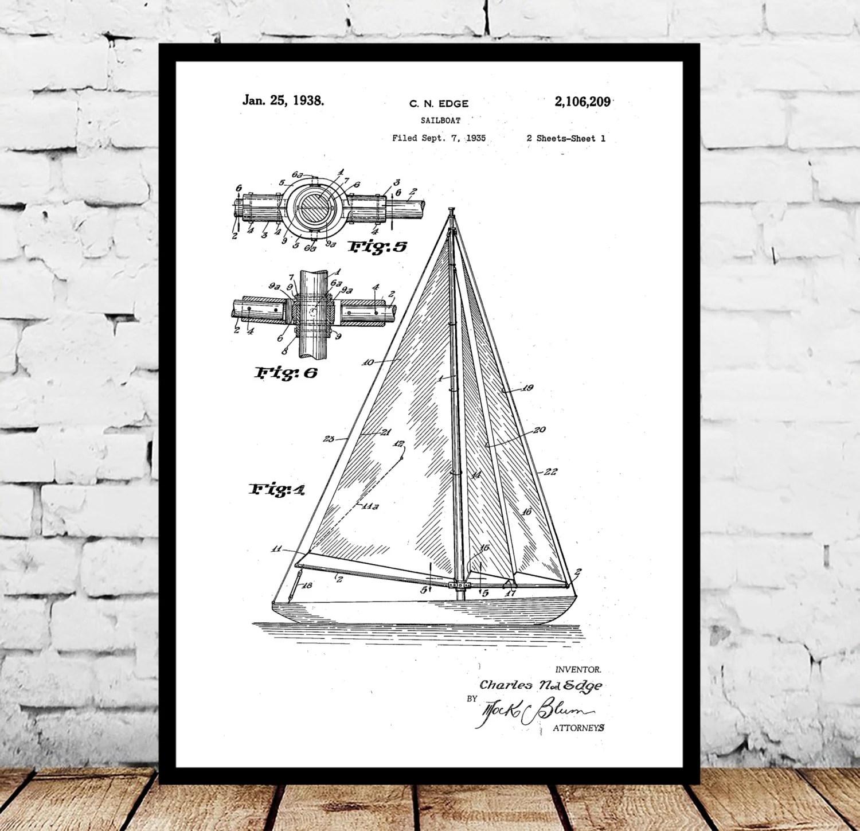 Sailboat Print Sailboat Poster Sailboat Patent Sailboat Decor Sailboat Art Sailboat Wall Art