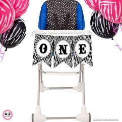 Zebra High Chair School Table And Chairs One Banner First Birthday Highchair Etsy Image 0