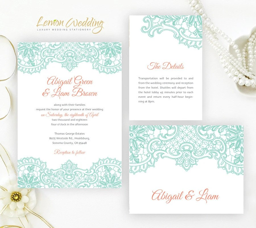 Mint and coral wedding Invitation sets printed Lace wedding  Etsy