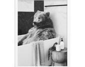 Time For A Bath / Bear / Framed poster