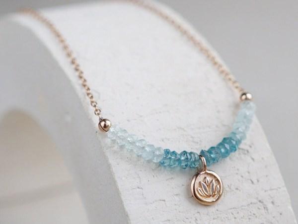 Aquamarine Necklace Lotus Charm Choker Dainty Gemstone