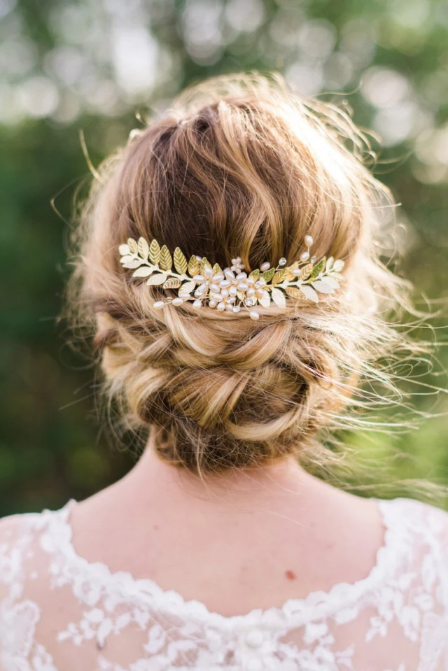 gold leaf hair comb bridal hair comb gold leaf hair piece bohemian hair comb pearl hair comb bridal comb wedding comb leaf headpiece #152
