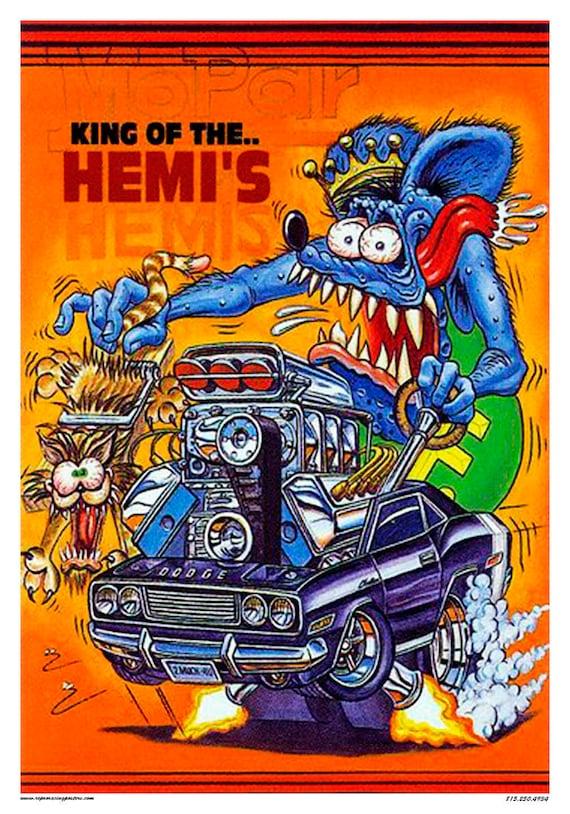 vintage reproduction racing poster rat fink king of the hemis dodge baracuda hot rod