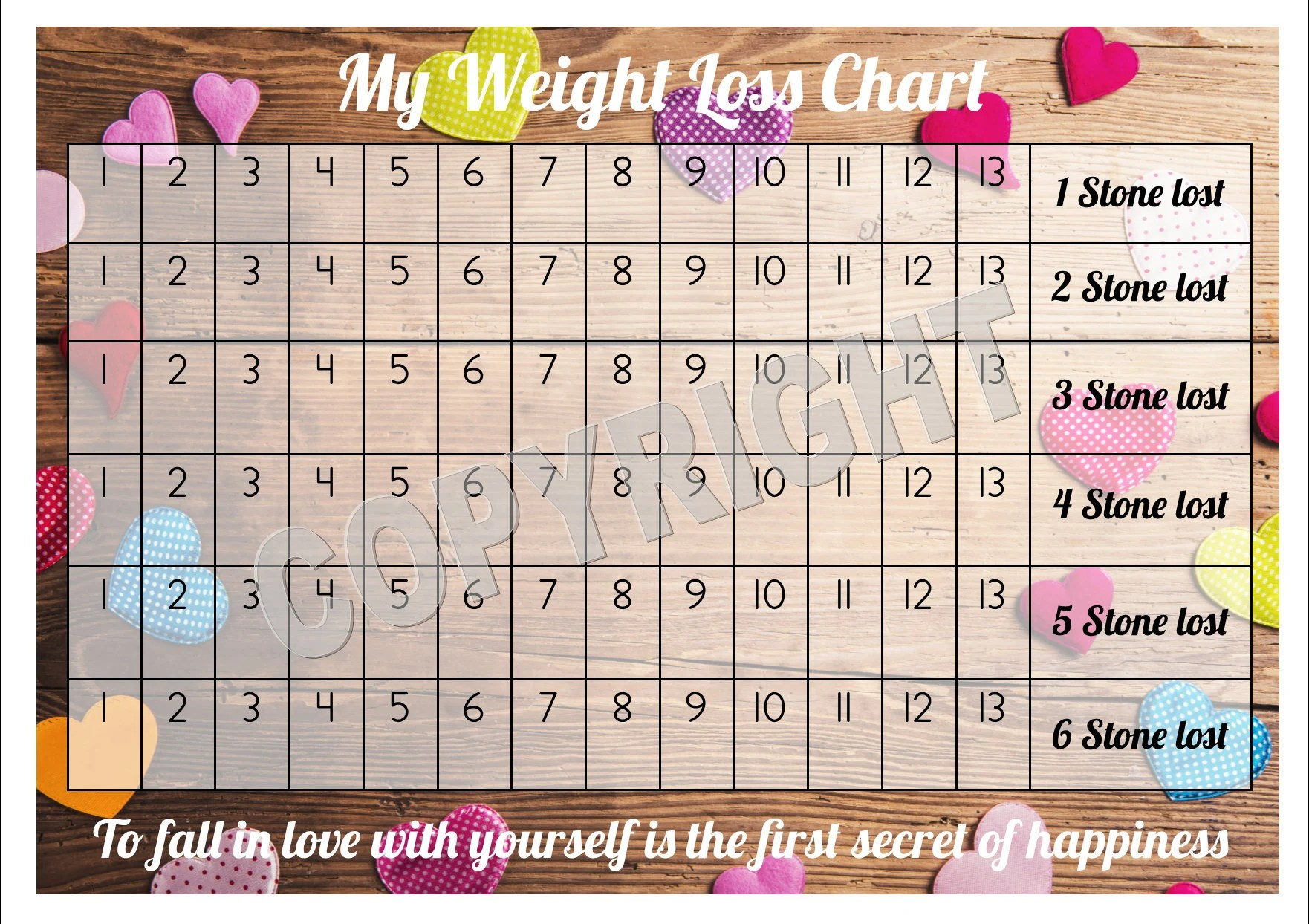 Weight loss chart tracker stone comes with star stickers motivation  laminated gsm card also etsy rh