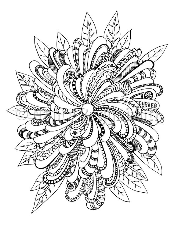Printable Coloring Page Digital Download Floral Mandala-ish