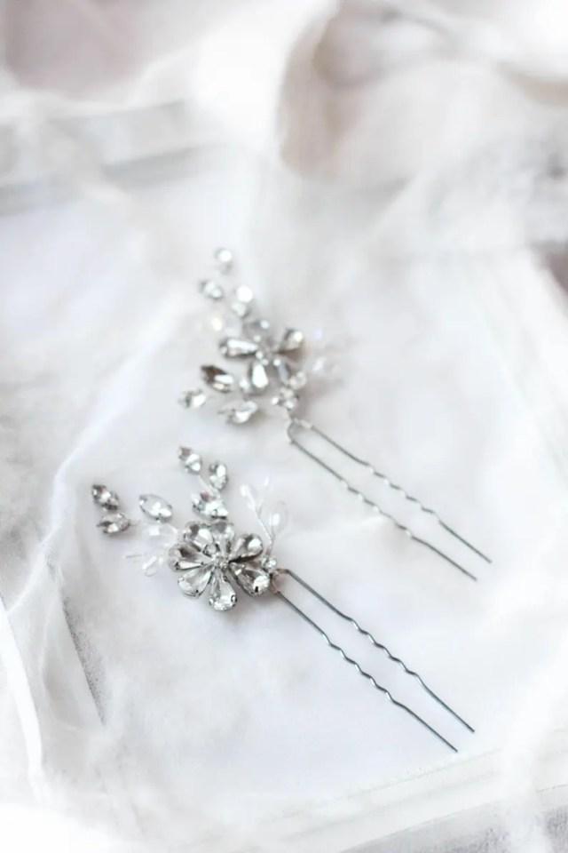 wedding hair pins crystal rhinestone hair clips pins wedding hair accessory bobby pins bridal hair pin pair of pins floral crystal pins