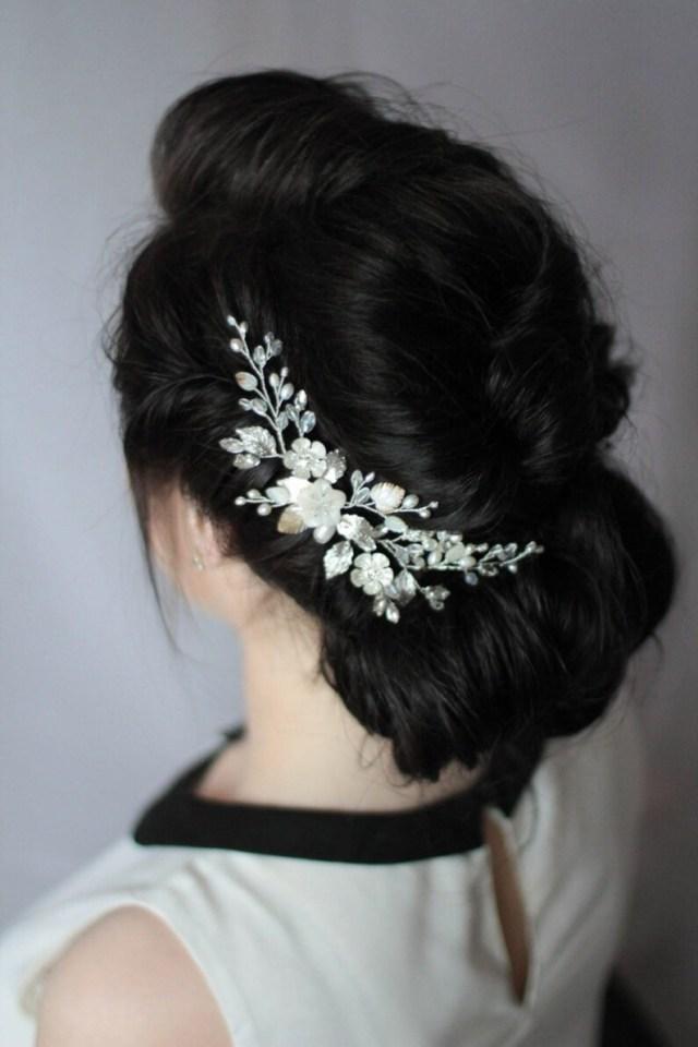pearl hair comb bridal comb mother of pearl wedding headpiece wedding hair comb hair adornment wedding hair accessory braut haarkamm hc-003