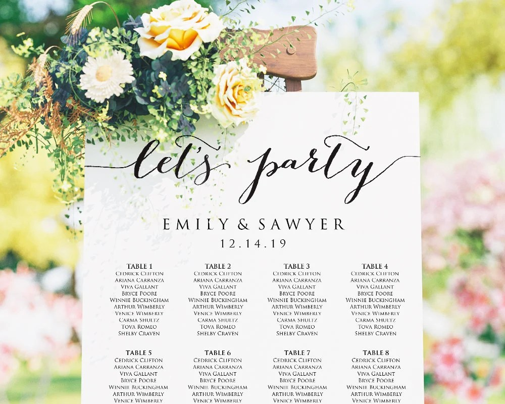 Let   party sign wedding seating chart template printable poster plan also etsy rh