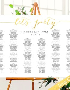 Let   party wedding seating chart template in four sizes faux gold leaf wed also etsy rh