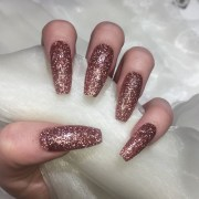extra long coffin rose gold glitter