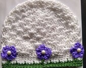 Handmade Pretty Posie Beanie Hat white purple