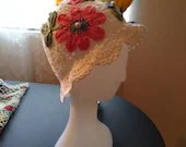 Handmade Lace Floral Hat Adult small White with Pink and Blue