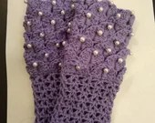 Handmade Girls Mermaid Gauntlet Gloves purple