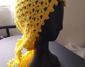 Handmade Lace Headscarf Du-Rag headwrap yellow