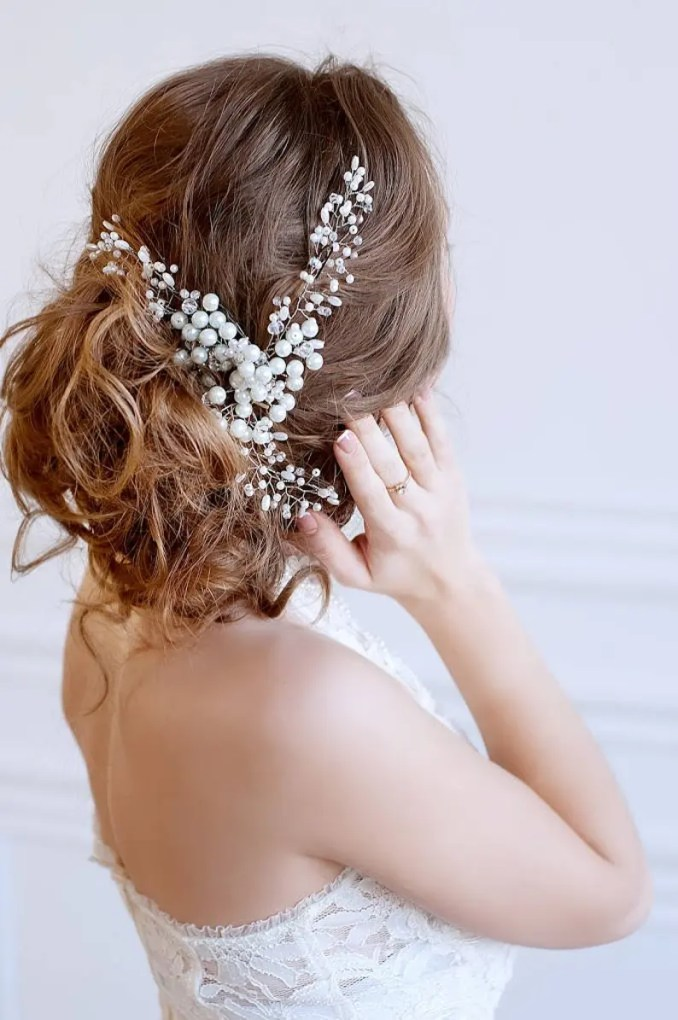 crystal and pearl bridal hair piece, wedding hair pieces, bridal hair vine  | irynafleur