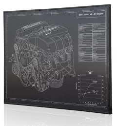 gm 7 0 ls7 v8 engine z28 laser engraved wall art poster engraved on [ 1456 x 1500 Pixel ]