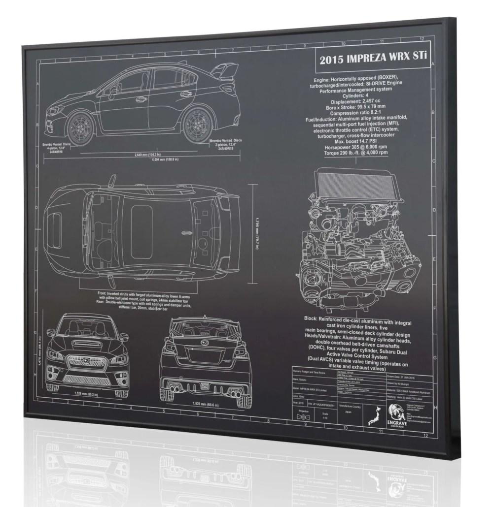 medium resolution of subaru impreza 2015 wrx sti laser engraved wall art poster etsysubaru 22 liter engine diagram