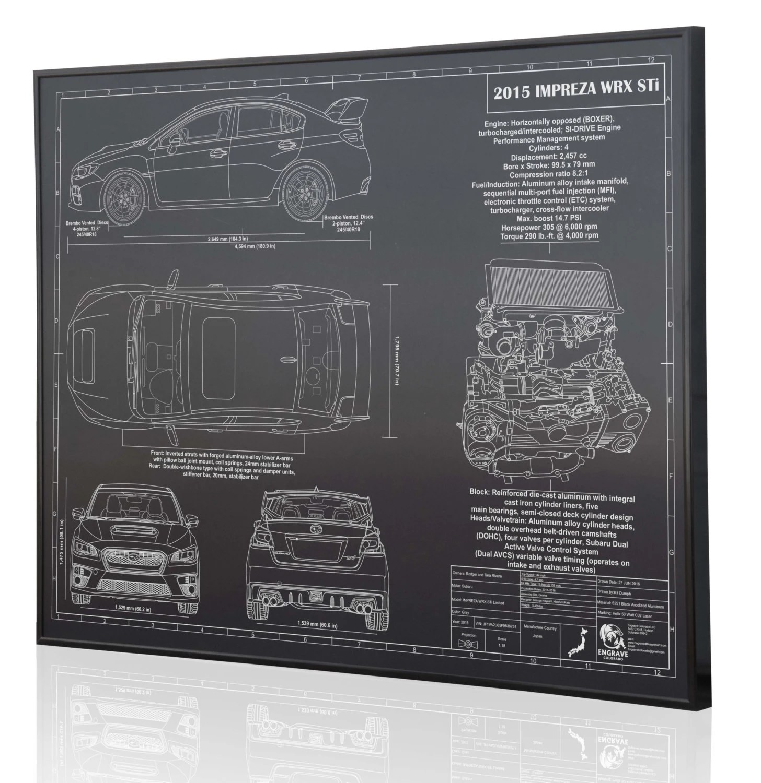 hight resolution of subaru impreza 2015 wrx sti laser engraved wall art poster etsysubaru 22 liter engine diagram