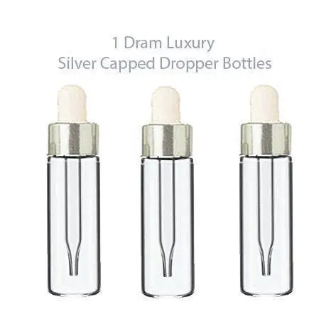 48 LUXURY Glass 5ml SILVER Dropper Bottles for Essential