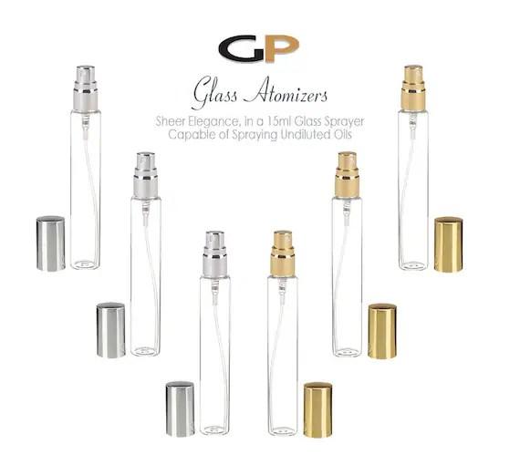 6 Slim Tall Clear Glass 15ml Fine Mist Perfume & Oil