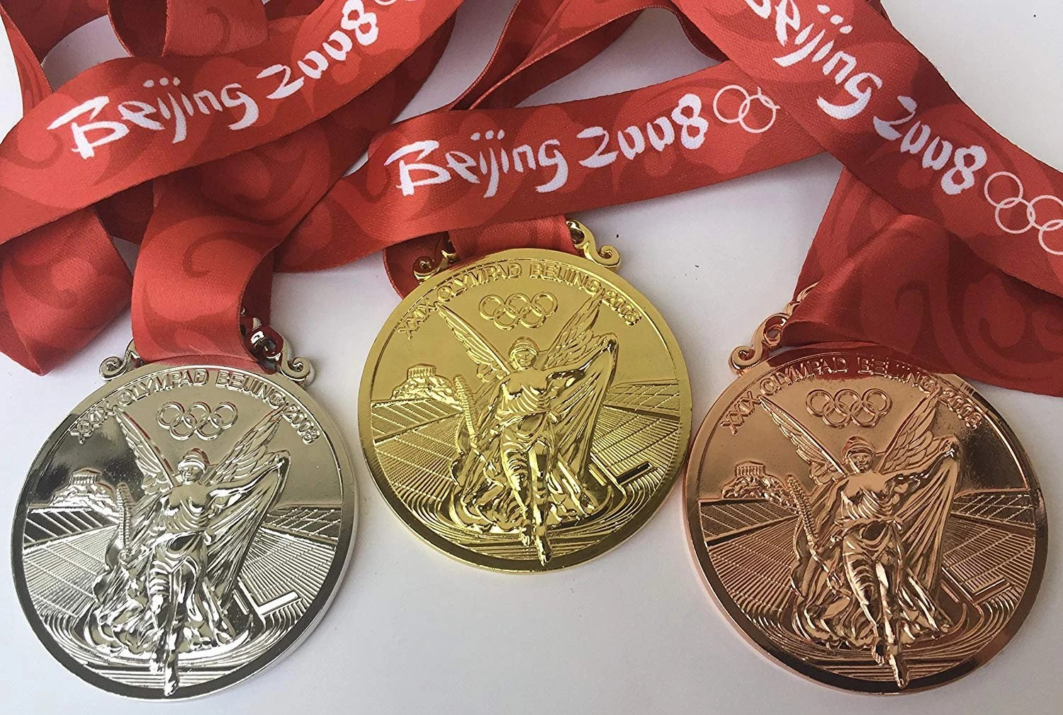 Beijing Olympic Medal Set Gold Silver Bronze Ribbons