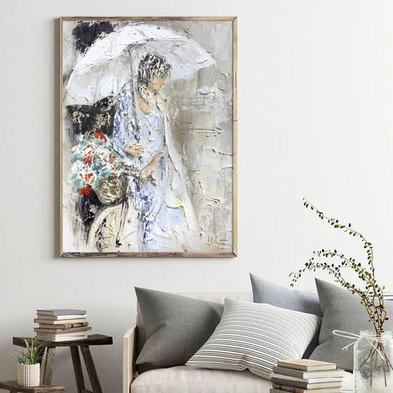 woman with umbrella print white wall art valentines gift etsy