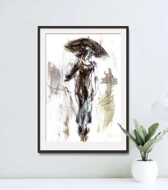 umbrella print woman drawing wall art print woman print etsy
