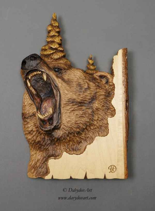 Grizzly Bear Carving Wood With Bark Hand