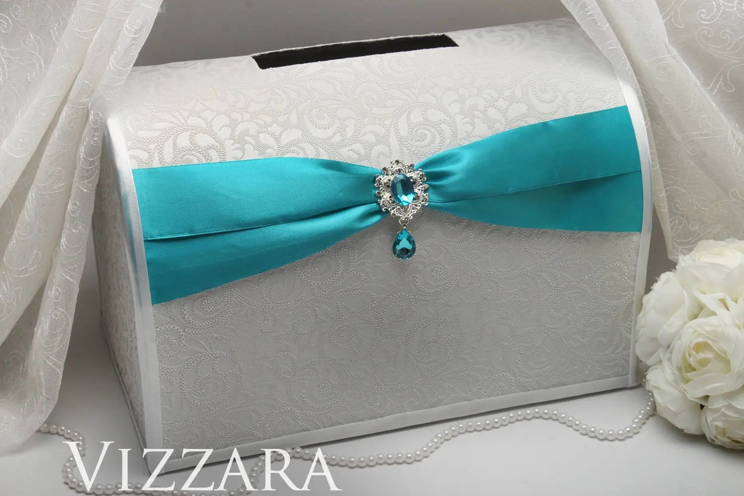 wedding money boxes teal